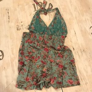 Dresses & Skirts - Blue halter style floral romper